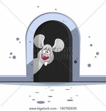 Cute cartoon mouse with big tooth on dark hole