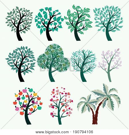 Collection of green trees vector. Set of abstract stylized trees. Natural Illustration of different kind of tree.