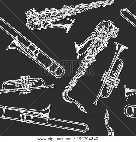 Seamless pattern with woodwind and brass musical instrument. Vector illustration in vintage engraved style on black background.