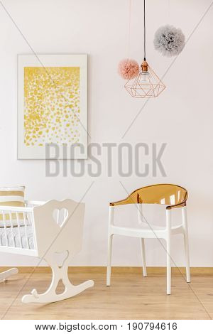 Golden Decor Nursery With Poster