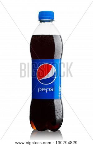 London, Uk - June 9, 2017: Bottle Of Pepsi Cola Soft Drink On White.american Multinational Food And