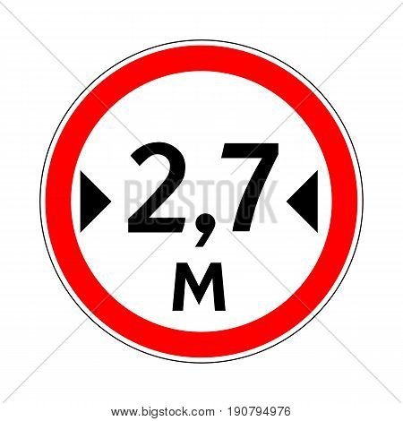 Illustration of Road Prohibitory Sign Maximum Width. Illustration on White