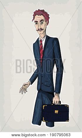 Vector line illustration of young business men holding vintage bag or diplomat case