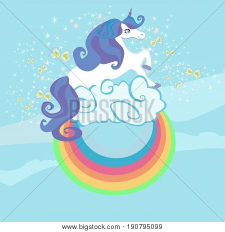 Card with a cute unicorn rainbow in the clouds , vector illustration