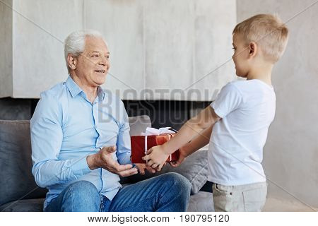 Birthday gift. Diligent bright loving boy greeting his grandparent and making a surprise gift while he looking delighted