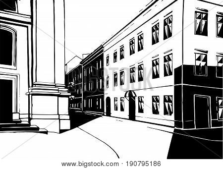 City street building house realistic contrast black and white flourish historical Lviv urban life landscape background. Vector close-up front frontal road way exterior facade illustration