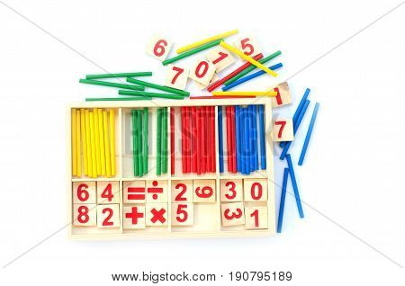 Educational kids math toy wooden board stick game counting set in kids math class kindergarten isolated on white background