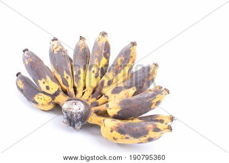Bunch of Black Ripen Wild Banana Asian Banana or Cultivated Banana isolated on white background