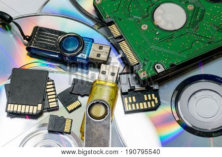 computer storage devices (Flash drivers, Memory cards, CD-R, Harddisk, DVD-R)