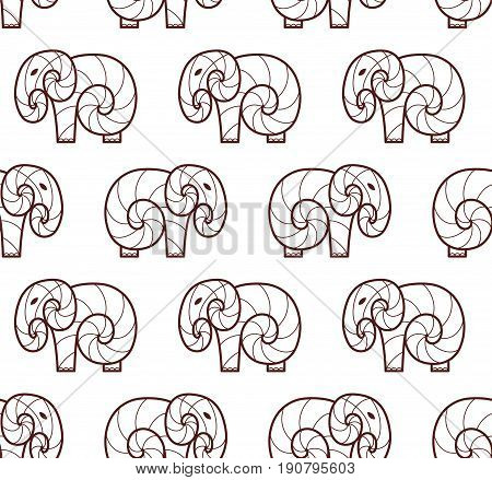 Vector seamless pattern of brown line art elephant on white background. Line art design elephant