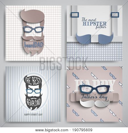 Set of Happy Fathers Day cards design for male event banner poster. Checkered or striped blue-beige backgrounds with paper cut hipster tie beard mustache suspenders glasses. Vector illustration