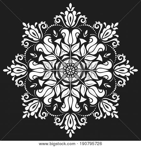Oriental round white pattern with arabesques and floral elements. Traditional classic ornament. Vintage pattern with arabesques