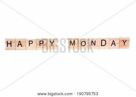 HAPPY MONDAY word on square tile concept isolated on white background