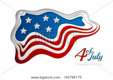 American independence day paper cut design. Colorful carving art. 3D abstract layered vector background with USA flag concept.