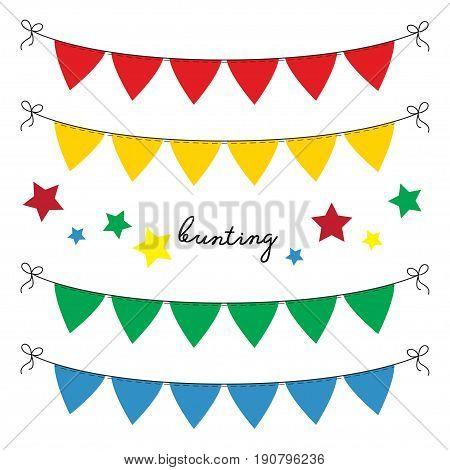 Set of multi colored flat buntings garlands triangle flags. Celebration decor for greeting cards in primary colors.