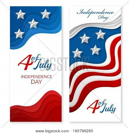 American independence day paper cut design. Colorful carving art. 3D abstract vector background. Vertical layered banners with USA flag concept.