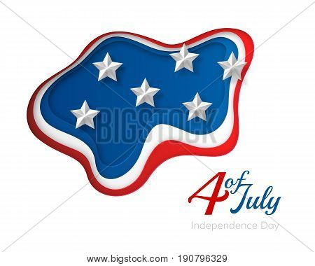 USA independence day paper cut design. Colorful carving art. 3D abstract layered vector background with American flag concept.