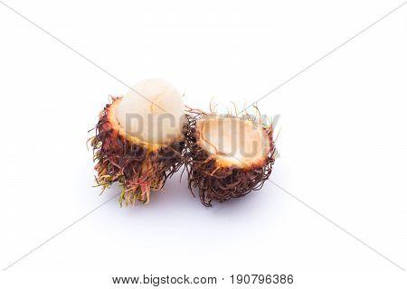 Rotten rambutan isolated on white background , closeup