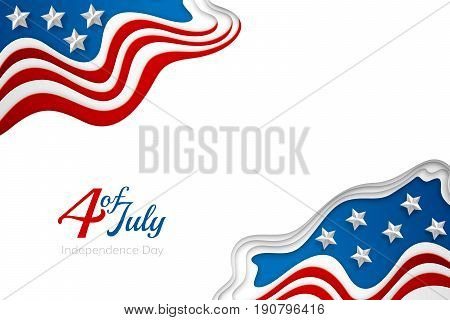 American independence day paper cut design. Colorful carving art. 3D abstract vector background. Horizontal layered banner with USA flag concept.