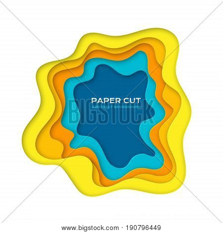 Paper cut design concept for flyers presentations and posters. Carving art in yellow and blue colors. 3D abstract layered background.