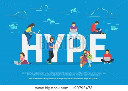 Hype concept vector illustration of young people using laptop and smartphone for following internet trends and hyping new marketing ideas. Flat design of guys and women with advertisiments symbols