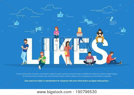 Flat vector concept illustration of young people using mobile gadgets such as laptop, tablet pc and smartphone for social networking, reading news and publishing images for likes.