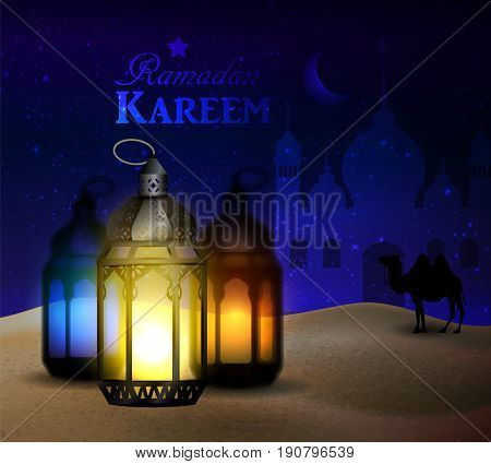lantern stands in the desert at night sky with moon Mosque and camel silhouettes vector