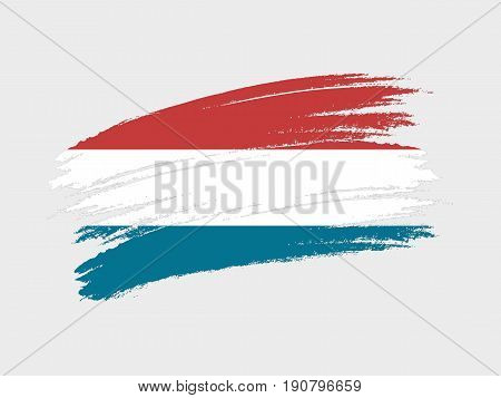 Flag of Netherlands grunge style. Isolated vector illustration on white background.