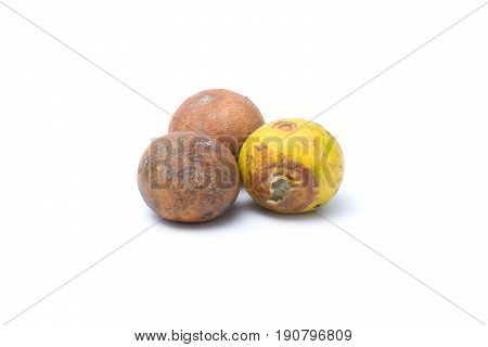Three Rotten lemon isolated on white background
