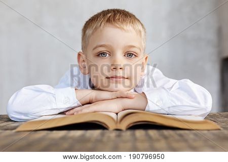 Angel face. Cute clever charismatic child sitting at the table and perusing some pages of a book while resting his head on his hands