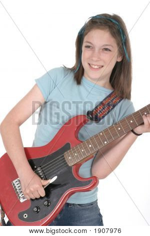 Young Pre Teen Girl Playing Guitar 4