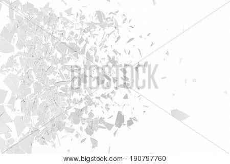 Broken window pane or front door glass background. Broken glass background isolated on white, 3d rendering