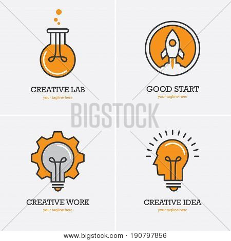 Four icons with human head rocket and light bulb for creative idea work or solution logo concept. Business start up symbol.