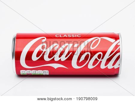 London, Uk - June 9, 2017: Aluminium Can Of Coca Cola Soft Drink On White.the Coca-cola Company, An