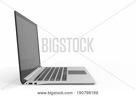 Modern computer, laptop blank mock up. Glossy laptop computer mock up. 3D Rendering