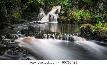 A long exposure image of Linn Jaw waterfalls shortly after a prolonged spell of wet weather