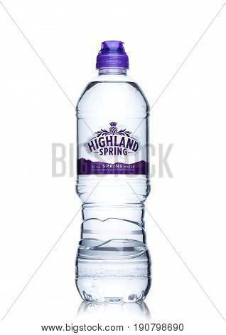 London, Uk - June 9, 2017: Bottle Of Highland Spring Still Mineral Water On White.