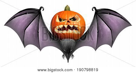 Halloween Bat Jack O Lantern character as a carved pumpkin with a scary and creepy expression with wings as a seasonal symbol with 3D illustration elements.