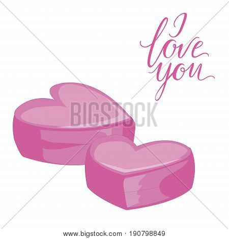 Two pink hearts. Isolated icon on white. Flat style vector illustration. I love you lettering