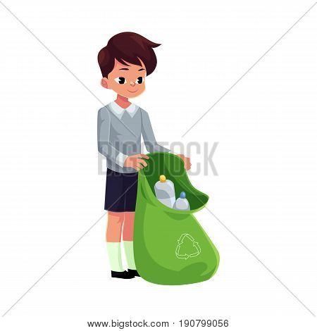 Boy holding green bag of plastic bottles, garbage recycling concept, cartoon vector illustration isolated on white background. Full length portrait of boy with garbage bag collecting plastic bottles