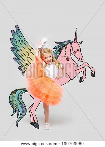 Girl With Hand Drawn Colorful Unicorn