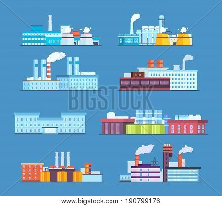 Set of industrial and factory buildings: industrial, chemical, helium plants, oil, administrative building and hospital. Modern vector illustration isolated.