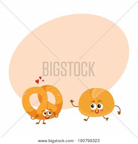 Smiling German pretzel and English bun, breakfast bread, bakery characters, cartoon vector illustration with space for text. Crispy pretzel and soft bun, white bread characters, mascots
