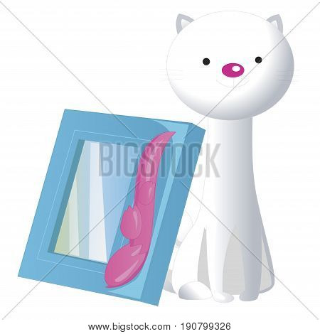 Interior decoration elements. Cartoon statuette cat and frame for photo. Flat style vector