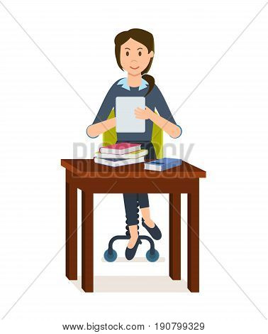Girl is looking for information in the electronic library, and in the books taken from the paper library, she picks up the necessary material while sitting at the table. Vector illustration isolated.