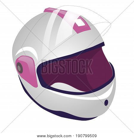 Whitw and pink motorcycle helmet icon. illustration of motorbike or motorcycle helmet vector icon for web. Isolated on white