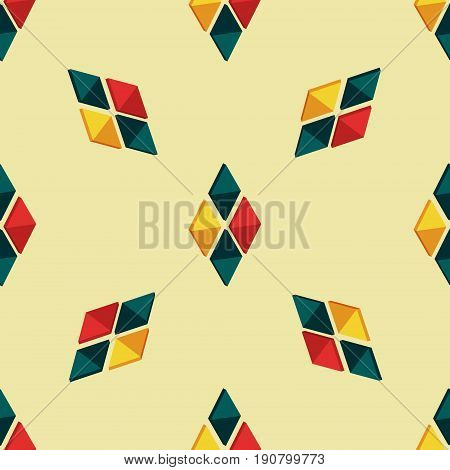 Triangle seamless pattern with colorful details, lozenges