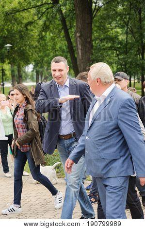 KIEV, UKRAINE - May 27, 2017: Kyiv Mayor Vitali Klichko took part in the Pakrk Natalka opening
