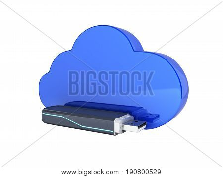 Concept Of Cloud Storage Usb Flash Drive With Cloud Isolated On White Background 3D Without Shadow
