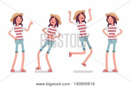 Young smiling woman wearing leisure summer fit, trendy stripe print, beach shoes, feeling good, jumping with joy, positive emotions. Vector flat style cartoon illustration, isolated, white background